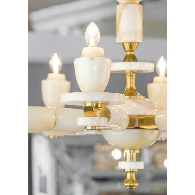 1950s Onyx Brass Eight Arm Chandelier For Sale - Image 5 of 11