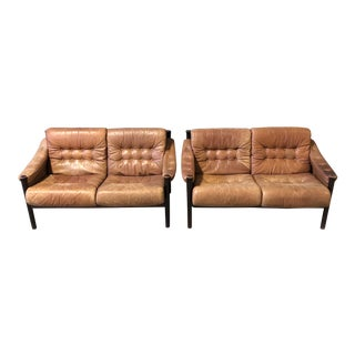 Pair of Scandinavian Leather Loveseats by Bruksbo For Sale