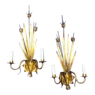 Vintage Distressed Gilded Sconces - A Pair