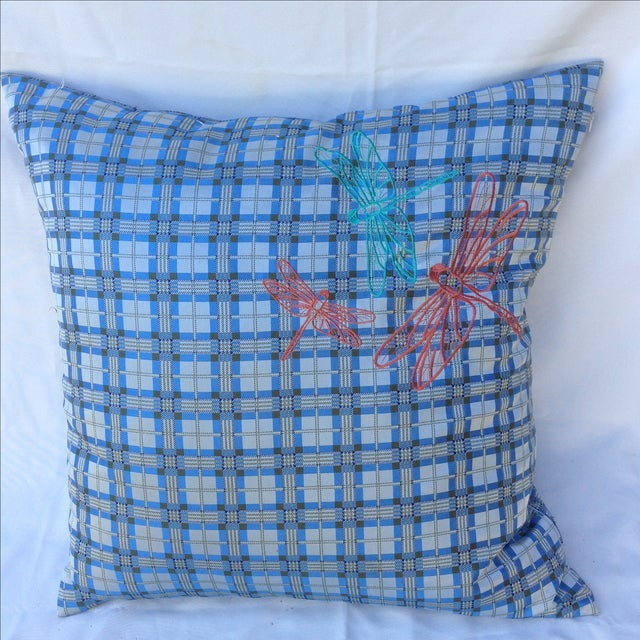 Plaid Embroidered Dragonfly Pillow - Image 2 of 5