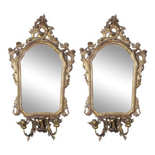Italian Gilt Girandole Mirror Sconces - A Pair