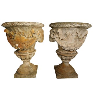 Pair of White Terracotta Urns With Lamb's Head Decoration For Sale