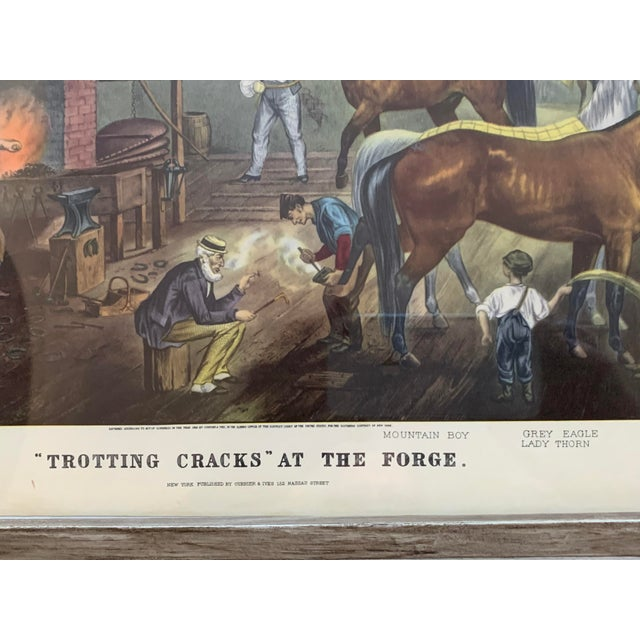 "Mid 19th Century Mid-19th Century ""Trorting Gracks at the Forge"" Print by Currier & Ives, Framed For Sale - Image 5 of 10"