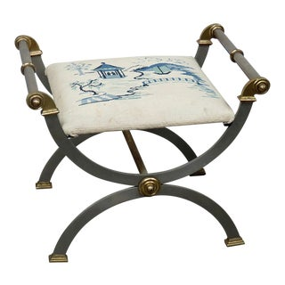 """Vintage Mid Century Regency Style """"X"""" Bench For Sale"""