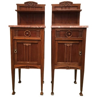 1900s, Art Nouveau Pair of Nightstands in Mahogany Top in Marble For Sale