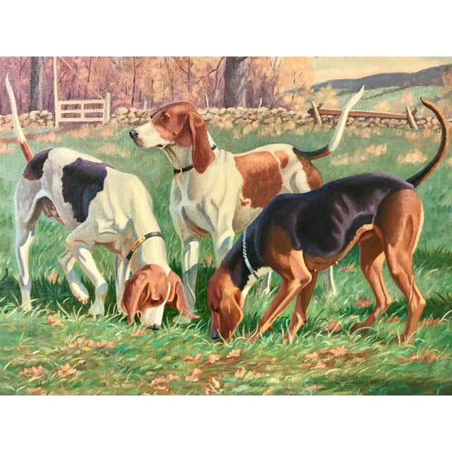 Original realistic oil painting of three hound dogs on a fox hunt by noted New England artist Edward Tomasiewicz. Signed...