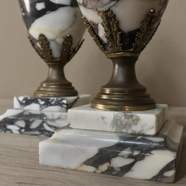 Metal Mantel Urns/Cassolettes, 19th Century French Marble & Bronze - a Pair For Sale - Image 7 of 12