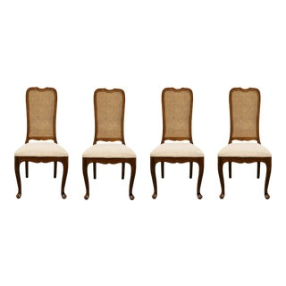 Davis Cabinet Solid Walnut Cane Back Dining Side Chairs - Set of 4 For Sale