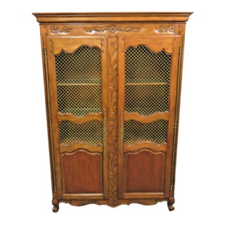 Country French Carved Cherry Bookcase / Linen Cabinet For Sale