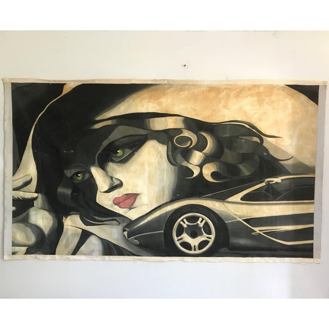 Art Deco Large Scale 1980s Painting in Style of Tamara De Lempicka For Sale - Image 3 of 9