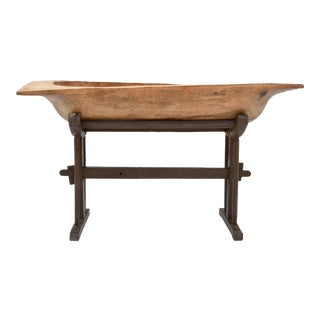 Large Fruitwood Trog or Dough Bowl on Oak Stand For Sale