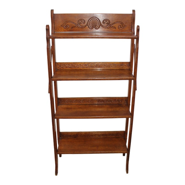 Antique Victorian Folding Bookcase in Incised Oak For Sale
