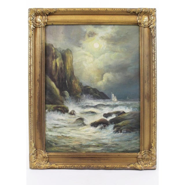 Late 19th Century Oil on Board Seascape Painting For Sale - Image 11 of 11