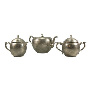 Early 20th Century Antique Chinese Marked Nickel-Plated Pewter Tea Set - 3 Pieces For Sale