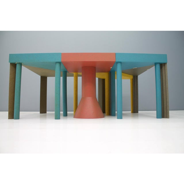 Set of six very rare tangram tables by Massimo Morozzi for Cassina, 1983. The tables can be set up individually or put...