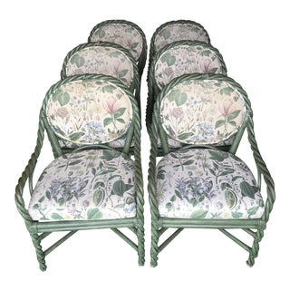 McGuire Original Green Twisted Rattan Chairs-6 For Sale