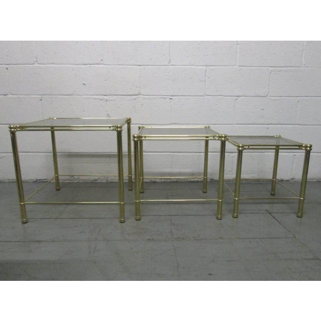 Hollywood Regency Brass Nesting Tables Attributed to Maison Raphael For Sale - Image 3 of 5