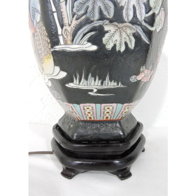 Metal Vintage Famille Noire Chinoiserie Table Lamp on Stand With Ducks, Goldfish and Lotus For Sale - Image 7 of 7