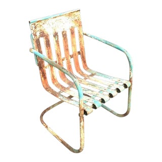 1930s Antique Green Metal Patio Chair For Sale