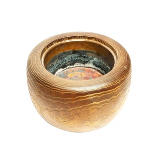 1900s Antique Japanese Wooden and Copper Hibachi Bowl For Sale
