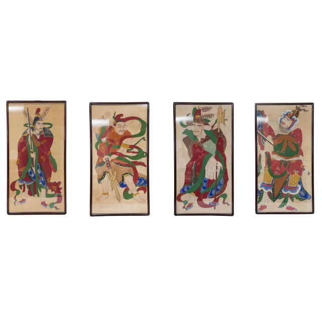 Blue Grouping of Ancient Chinese Warriors Hand-Painted For Sale - Image 8 of 8
