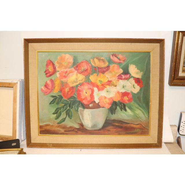 1950s Vintage Mid-Century Floral Still Life Painting For Sale - Image 5 of 5