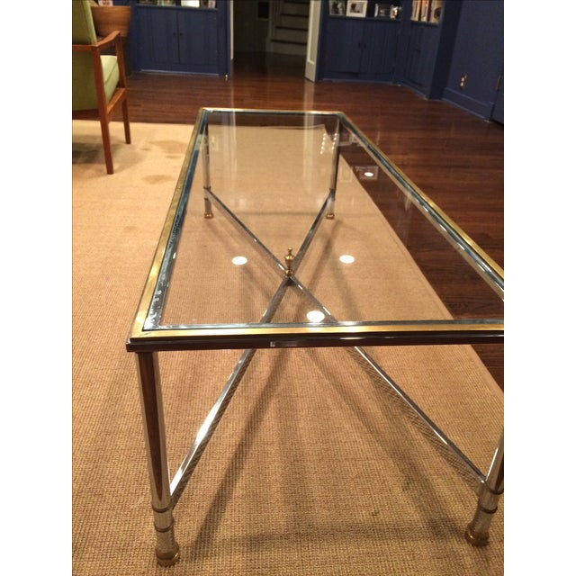 Large Hollywood Regency Brass & Glass Chrome Table - Image 4 of 5