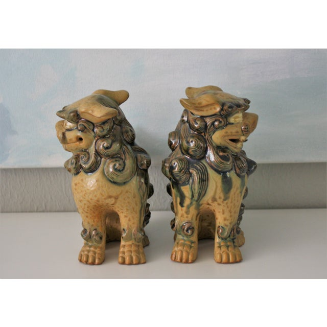 Vintage Terracotta Glazed Foo Dogs - Pair - Image 3 of 7
