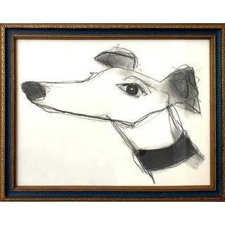 Original Framed Charcoal Portrait of a Dog For Sale