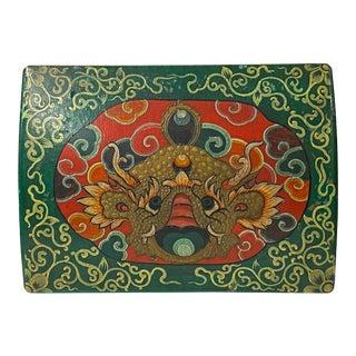 Tibetan Style Dimensional Foo Dog Head Graphic Rectangular Box For Sale