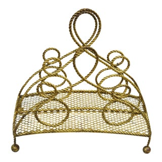 Italian Hollywood Regency Rope Tassel Gold Tole Metal Magazine Rack Holder Stand For Sale