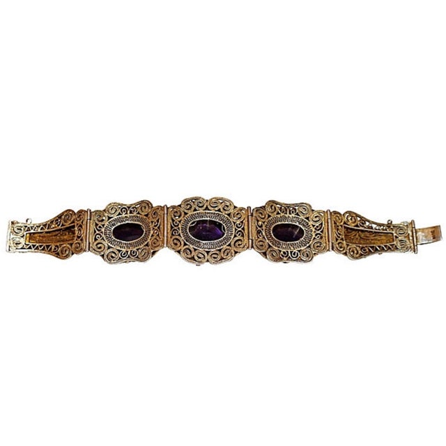 1940s 1940s Chinese Gold-Plated Sterling Silver Amethyst Bracelet For Sale - Image 5 of 6