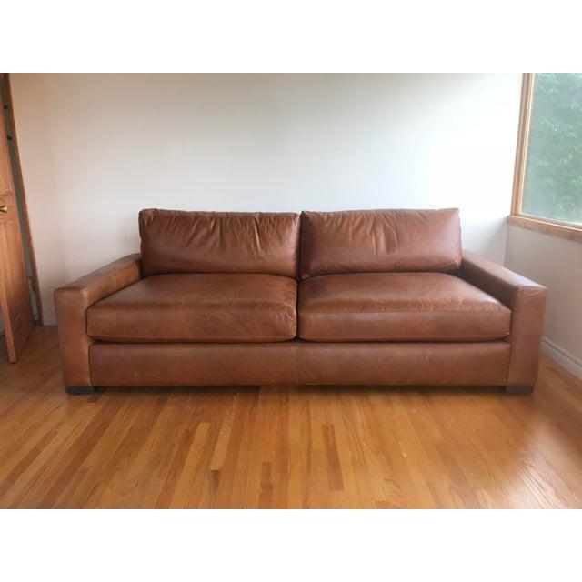 Contemporary Restoration Hardware Maxwell Leather Sofa Chairish