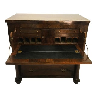 Antique American Empire Carved Mahogany Butler's Secretary Writing Chest Desk For Sale
