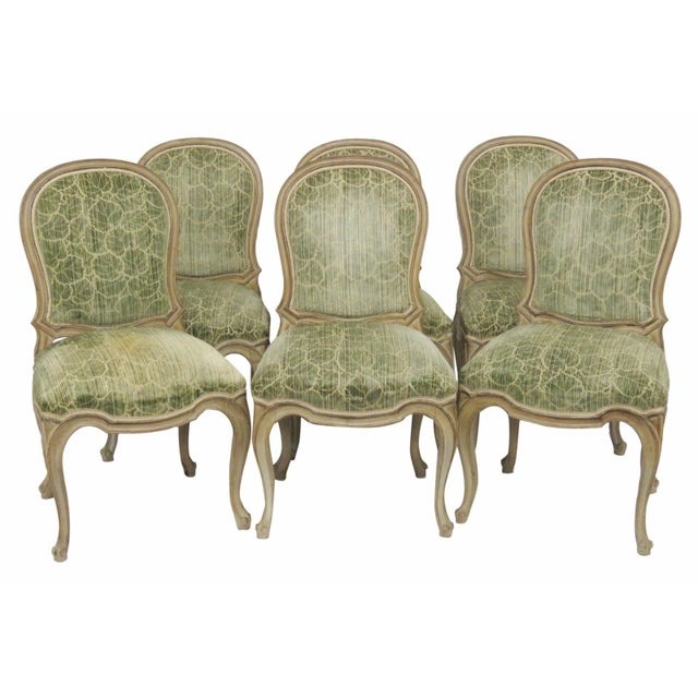 French Distressed Painted Dining Chairs - Set of 6 - Image 1 of 10