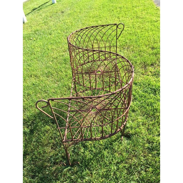 Brown Vintage Iron Garden Tete-A-Tete For Sale - Image 8 of 9