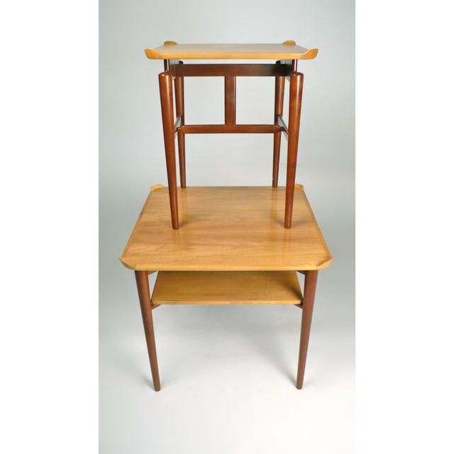 """Two Finn Juhl Tables, larger 26""""square x 23 """" h, smaller 20""""square x 23""""h for Baker. Model DF 200."""