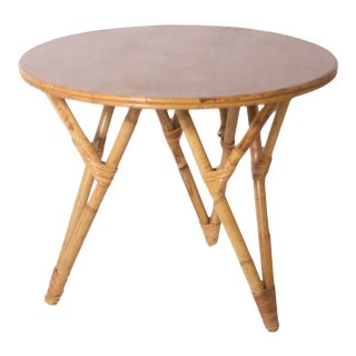 Bamboo Round Side Table For Sale
