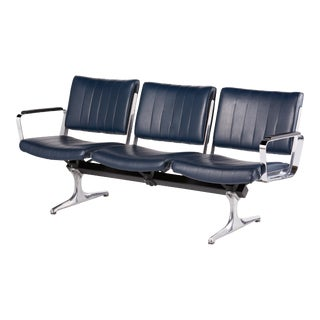 Chromcraft Navy 3-Seat Original Vinyl Airport Bench For Sale