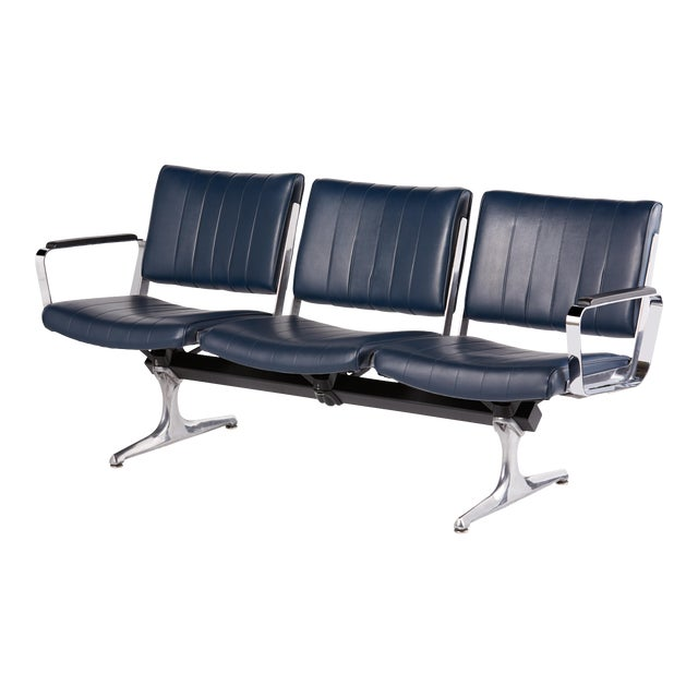 Chromcraft Navy 3-Seat Original Vinyl Airport Bench For Sale