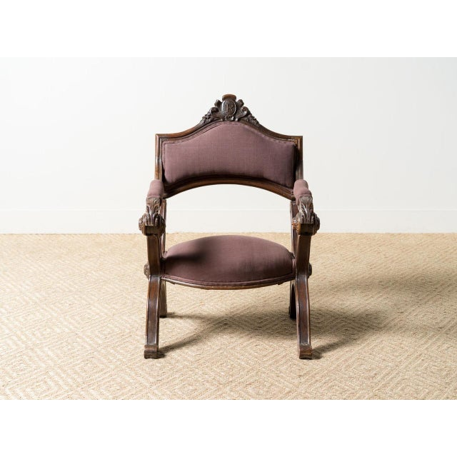 Carved wooden chair Upholstered seat and back France Circa 1920