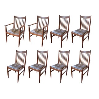 Arne Vodder Teak & Leather Dining Chairs - S/8
