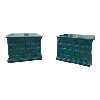 Emerald Green Storage/End Tables - a Pair For Sale