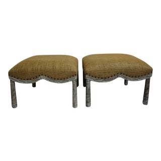 French Farmhouse Burlap Covered Stools For Sale