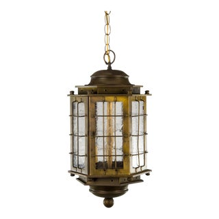 Vintage Brass Carriage Hanging 3 Light Lantern