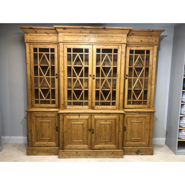 Chippendale Solid Knotty Pine and Glass Breakfront Bookcase For Sale - Image 10 of 10