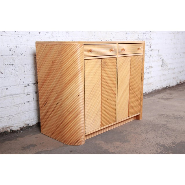 Gabriella Crespi Style Split Reed Rattan Sideboard Cabinet For Sale In South Bend - Image 6 of 13