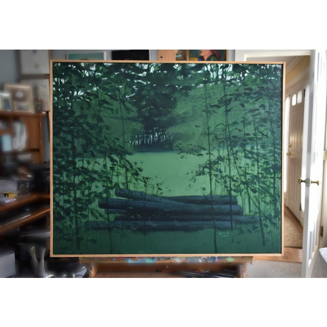 "Green Contemporary Landscape Painting, ""Log Pile in Summer"", by Stephen Remick For Sale - Image 8 of 8"