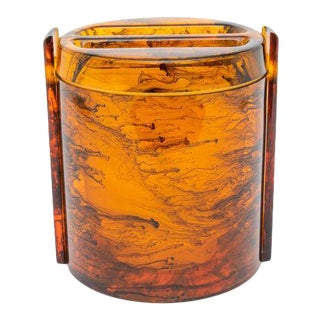 Faux Tortoise Shell, Marbleized Lucite Ice Bucket With Tongs From 1970s Italy For Sale