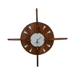 Belart Mid-Century Walnut Hanging Wall Clock For Sale